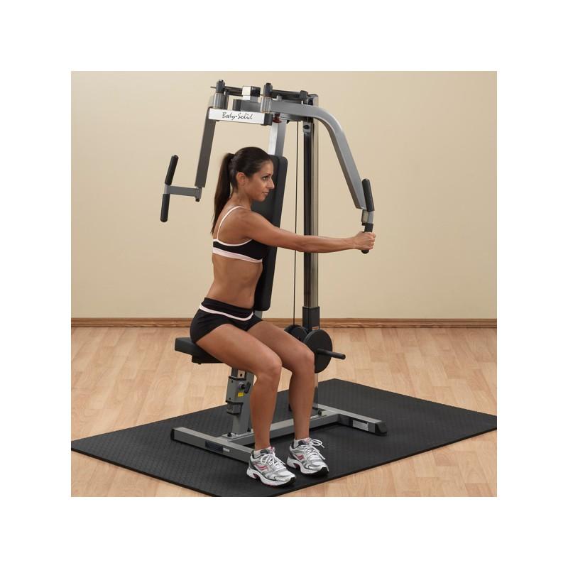Aparato pec dec para espalda y deltoide body solid for Aparatos para gimnasio